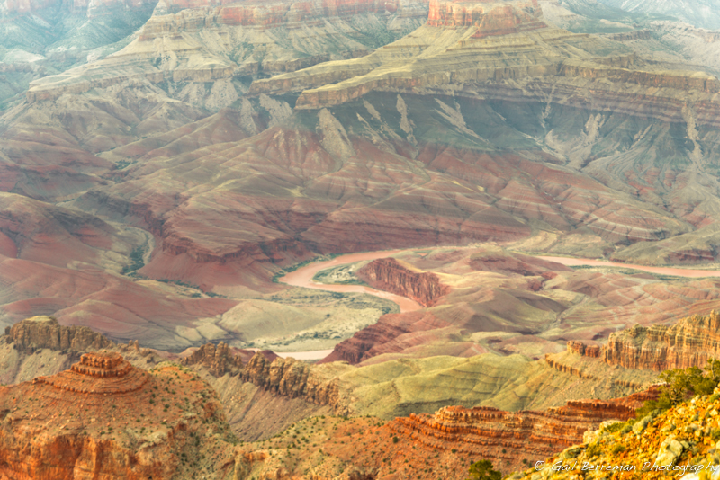 The Grand Canyon and the Colorado River portrays a sequence of rock layers that as windows into the time.  A few of the primary rock layers in the Grand Canyon are:  Kailbab Limestone, Toroweap Formation, Coconino Sandstone, Hermit Shale, Redwall Limestone, Muav Limestone, and Bright Angel Shale.